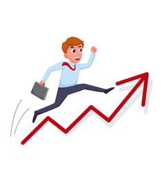 businessman cartoon jump over growing chart vector image