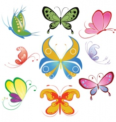 collection of different multicolored butterfly vector image vector image