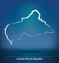Doodle Map of Central African Republic vector image