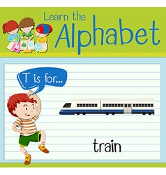 Flashcard letter T is for train vector image vector image