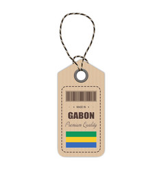 hang tag made in gabon with flag icon isolated on vector image