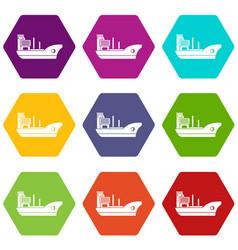 marine ship icon set color hexahedron vector image