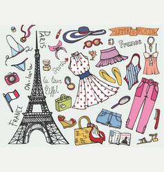 paris france fashion summer vacation setwoman vector image vector image