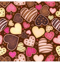 seamless chocolate pattern with sweetmeat heart vector image