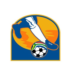 soccer player ball flag south africa vector image