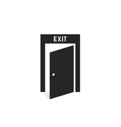 black simple exit door icon on white vector image