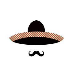 mexican man face with sombrero and mustache vector image vector image