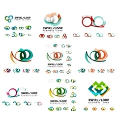 Set of company logotype branding designs swirl vector image