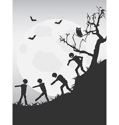 Spooky halloween zombies background vector
