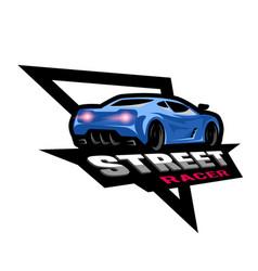 street racer symbol emblem vector image vector image