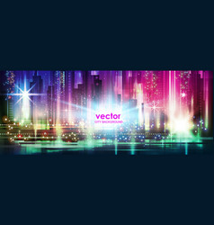 background of the night city with glowing vector image