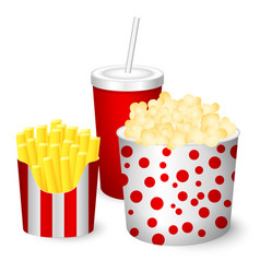 popcorn french fries juice vector image