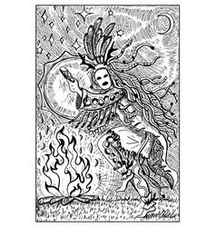 shaman engraved fantasy vector image