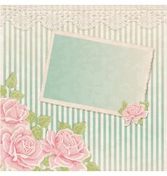 Vintage background with roses and photoframe vector image vector image