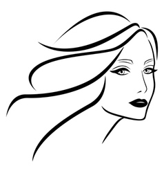 Beautiful young lady with wavy hair vector image vector image