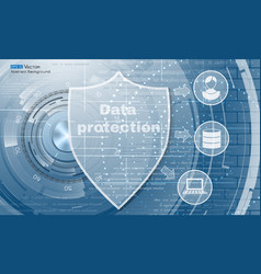 data protection abstract background with shield vector image vector image