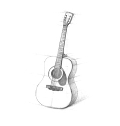 Sketch of guitars on a white background vector image