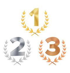trophy award set award figures 1 2 3 vector image vector image