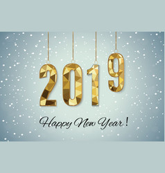 2019 golden new year sign with golden glitter and vector