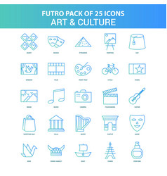25 green and blue futuro art and culture icon pack vector