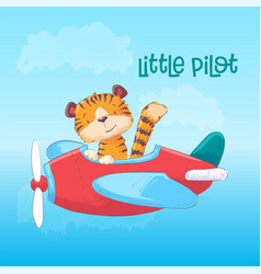 a cute tiger on a plane hand draw vector image