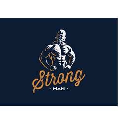 a vintage strong man with a mustache vector image