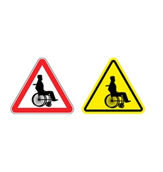 Attention disabled on wheelchair Warning sign vector