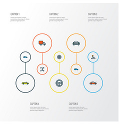 Auto icons colored line set with crossover wheel vector
