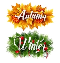 Autumn and winter typographic banner vector