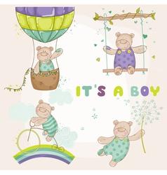 Baby bear set - shower or arrival card vector