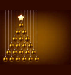 Background with golden christmas tree vector