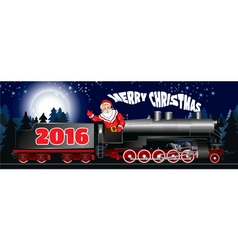 banner of Santa Claus on a steam locomotive vector image