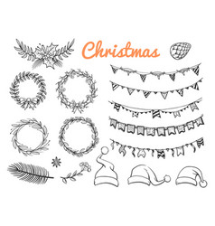 Big sketch christmas symbols elements vector
