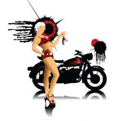bike and girl in red vector image