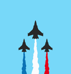 black military fighters with colored trails on vector image
