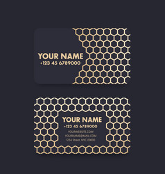 Business card design with gold pattern on dark vector