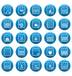 calendar icons set blue simple style vector image