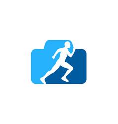 Camera run logo icon design vector