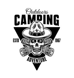camping monochrome emblem badge label or vector image