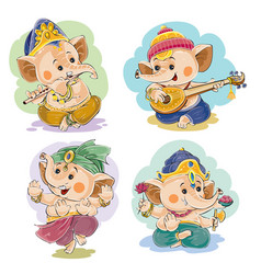 Cartoon little baby ganesha indian god vector