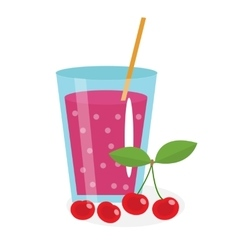Cherry juice in a glass Fresh isolated on white vector image