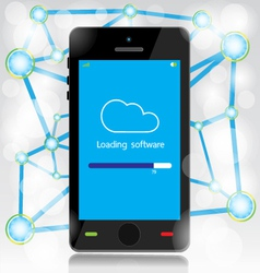cloud computing loading on mobile vector image
