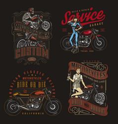 Colorful motorcycle vintage designs vector