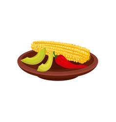 corn hot pepper and slices of avocado in brown vector image