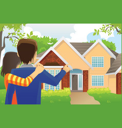 Couple looking at a house vector