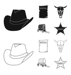 Cowboy hat is searched cart bull skull wild vector
