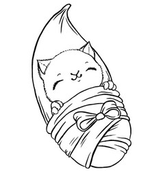 Cute baby kitten wrapped in blanket like newborn vector