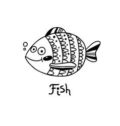 cute fish in cartoon style vector image