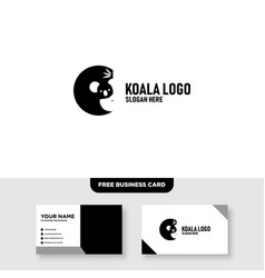 Cute koala logo design and business card template vector