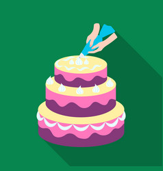 decorating of birthday cake icon in flat style vector image